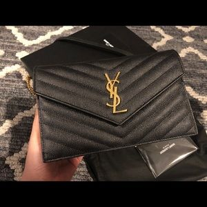 Saint Laurent Bags - SOLD! YSL Monogram Chevron Quilted Wallet on Chain